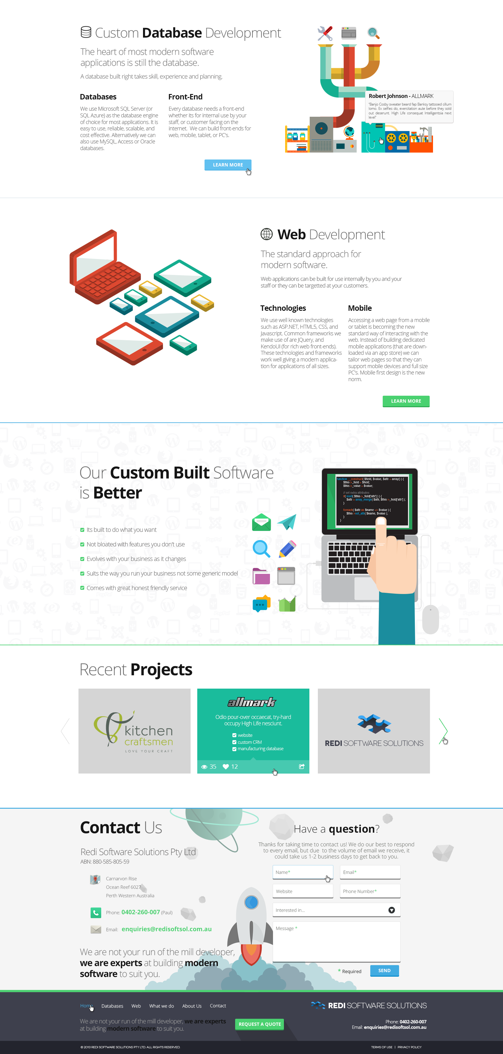 New single page website design for REDI Software