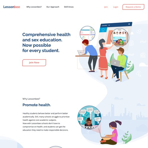 Landing page design for an online education