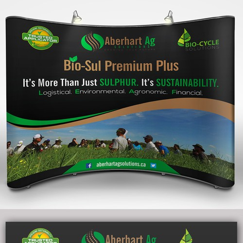 Create a powerful eye catching back drop for an amazing sustainable fertilizer product