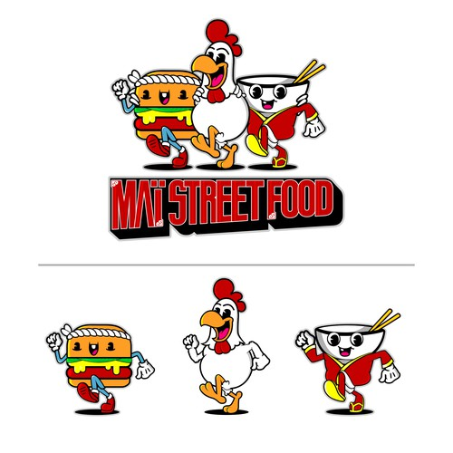 Burger, Chicken and Bowl Streetfood mascot