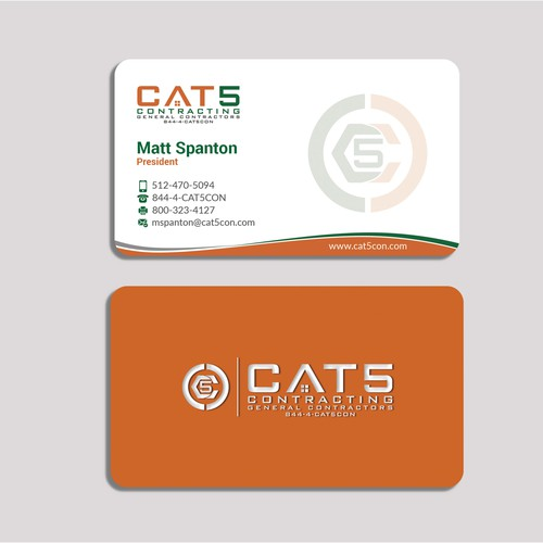 CAT 5 Contracting business card redesign
