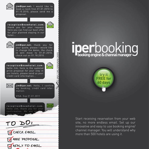 Magazine Advertising Page for a Web Booking Engine for Hotels