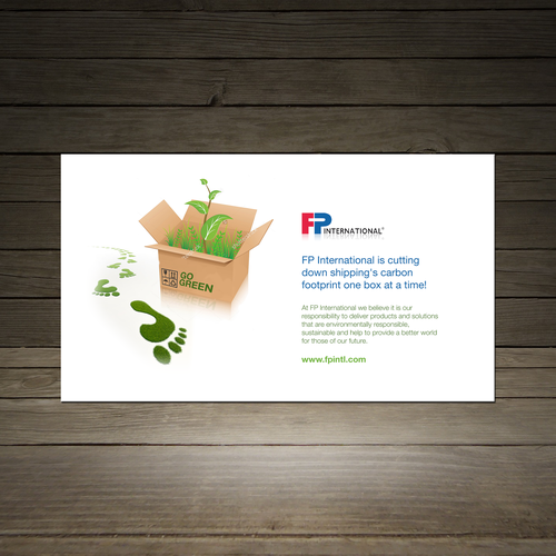Create a box stuffer post card that illustrate environmentally responsible