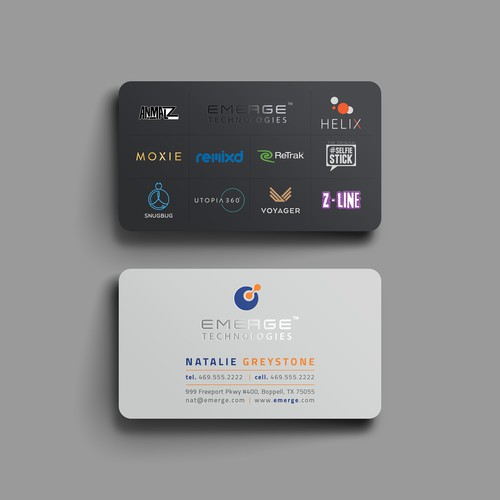 Sleek and Elegant business card for Emerge Technologies.