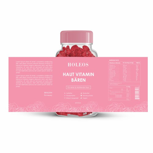 Elegant and luxury vitamin bottle label design