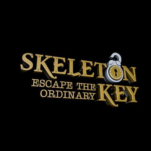 Skeleton key logo 3D visual