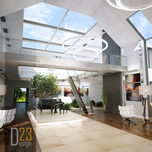 Interior design for modern luxury house lobby.