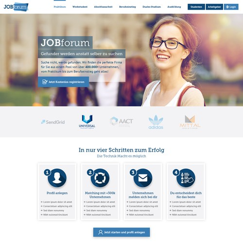 Wordpress Avada Design for Student Job Portal - 2 Pages - Landingpage and Registration Process