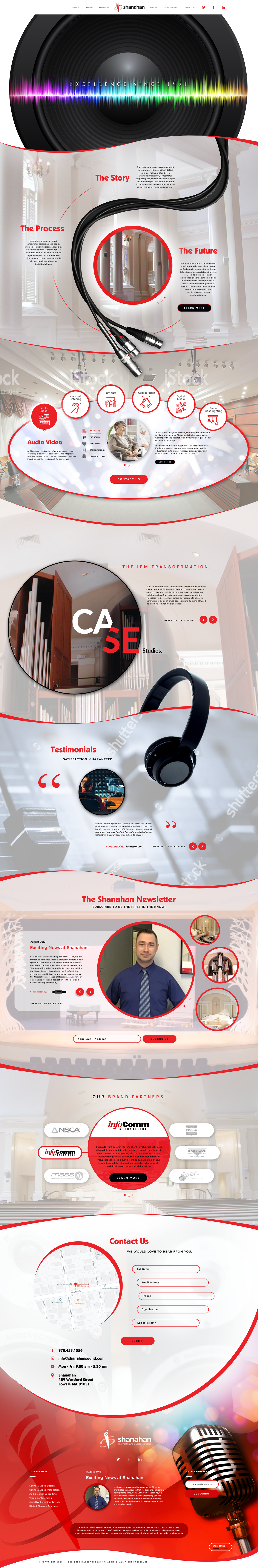 Shanahan Sound - Seeking beautiful new website design to break the mold for our industry.