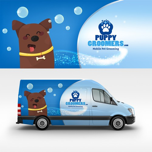 Vehicle wrap for puppygroomer.com