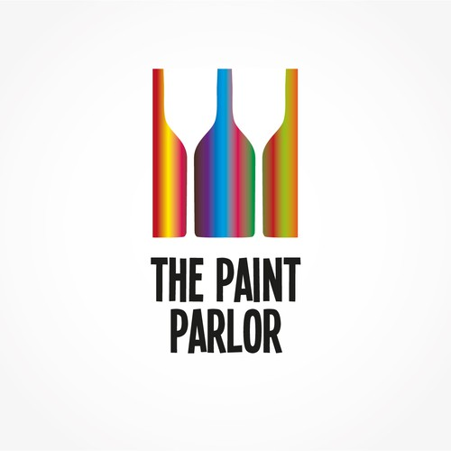Logo design for wine bar that doubled as space for clients to try painting