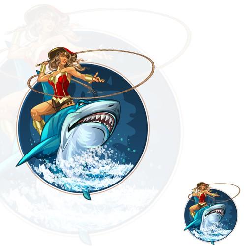 shark rider illustration