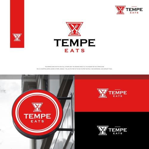 Tempe Eats Logo. Restaurant Logo. Fork and Knife logo. Bar logo. Circle logo. Retaurant Icon. Bistro logo. Signage Logo