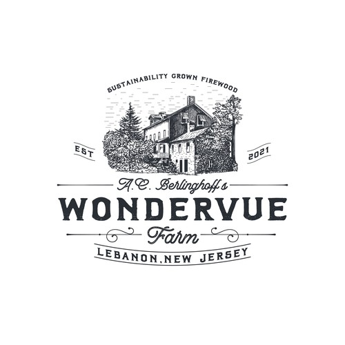 Hand drawn logo for sustainable wood farm