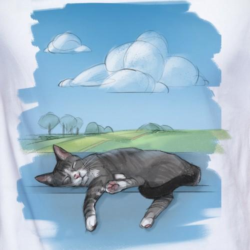 Calming cat illustration