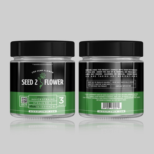 Hemp Flower Jar Label Design
