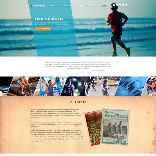 Landing page for endurance company