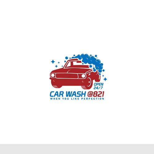 A concept for a mustang theme car wash logo