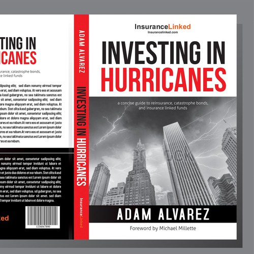 Design a creative cover for a book about investing in funds related to catastrophe risk.