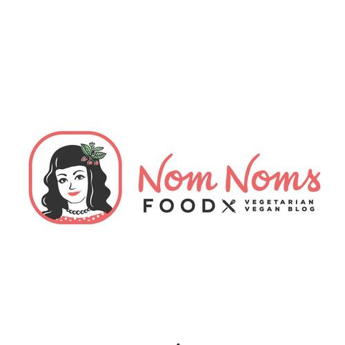 Woman face illustration Vegan food blog
