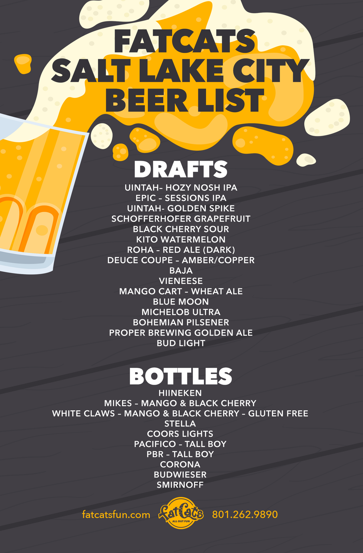 Beer List Menu