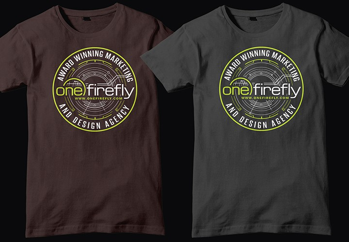 Create cool/hipster One Firefly Tradeshow Giveaway t-shirt Design