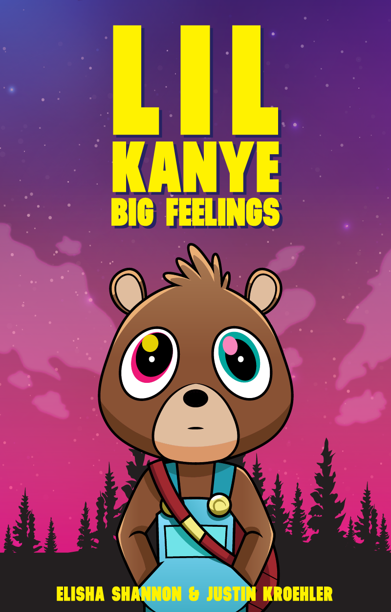 """Design a cover for """"Lil' Kanye Big Feelings"""" an adult/childrens book."""