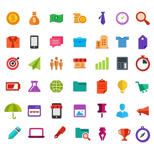Colourful Business Icon Set