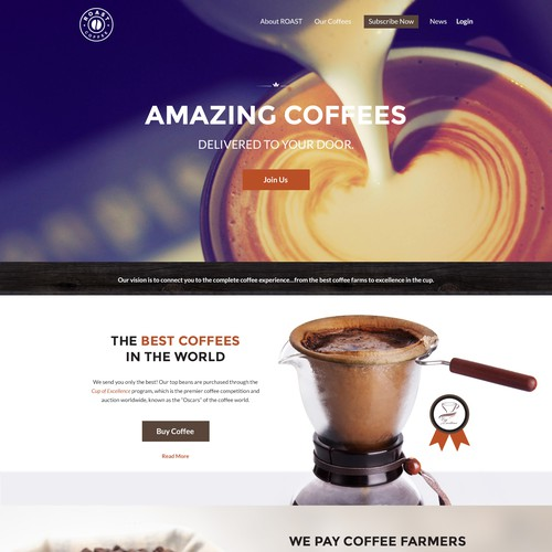 Roast Coffee landing page design