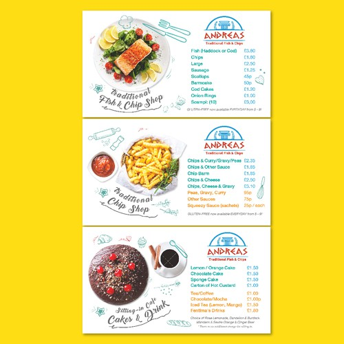 Fish and Chip Shop Menu Design
