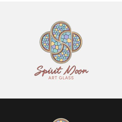 Stain glass logo concept for Spirit Moon Art Glass