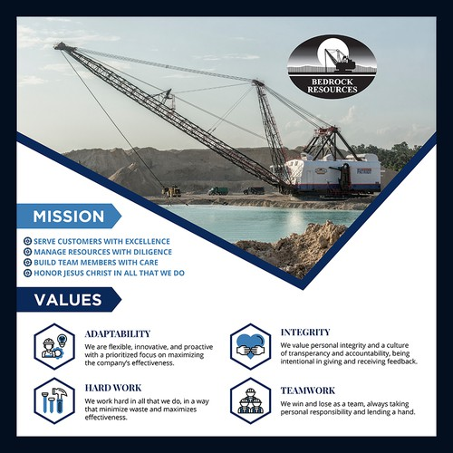 Mining Company Needs an Inspiring Core Values Poster