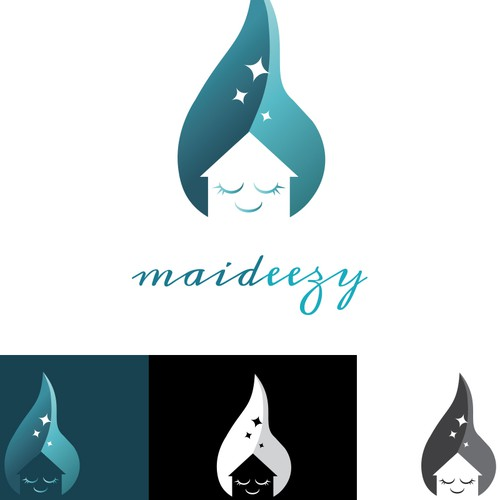 Logo concept for maideezy cleaning services.