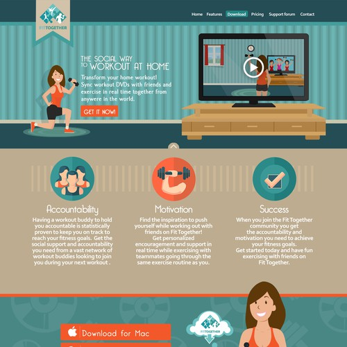 """FITNESS LANDING PAGE ILLUSTRATION... make users say """"WOW!"""""""