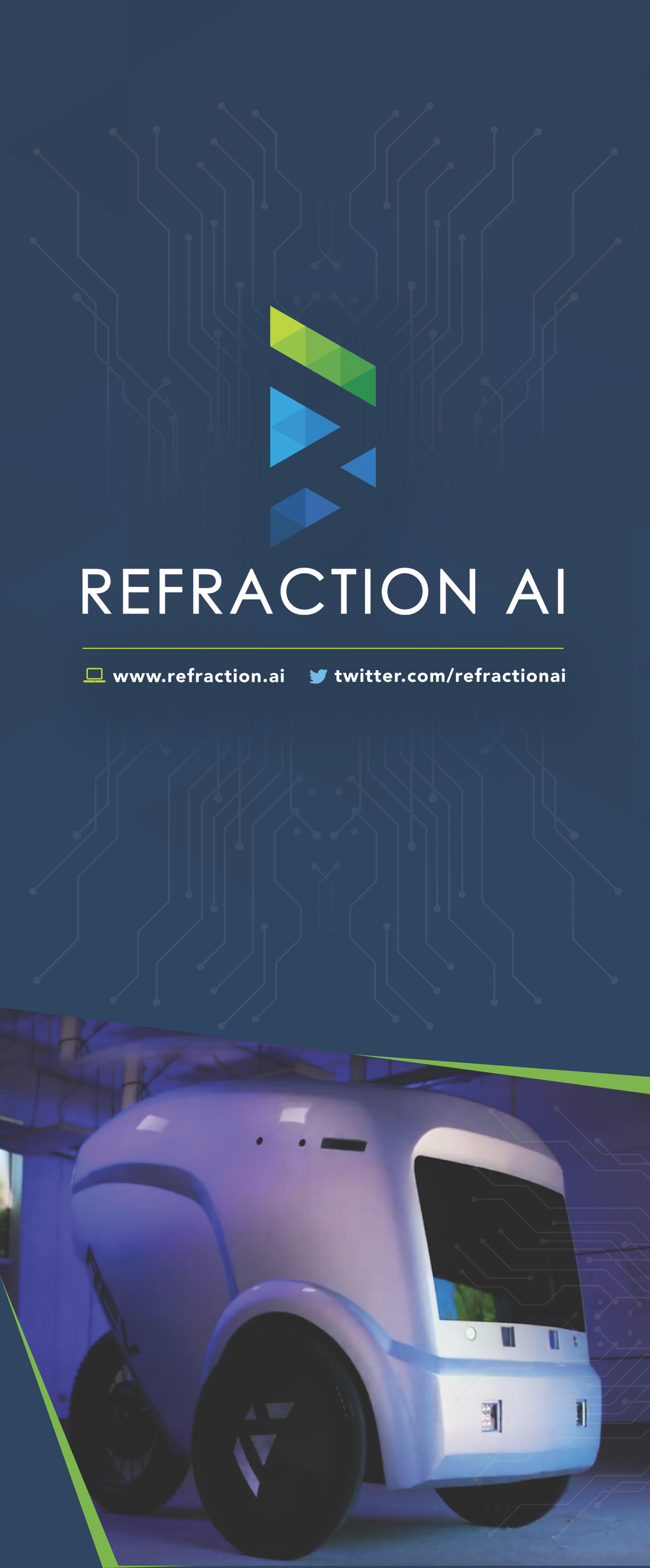 Retractable trade show banner for Refraction AI