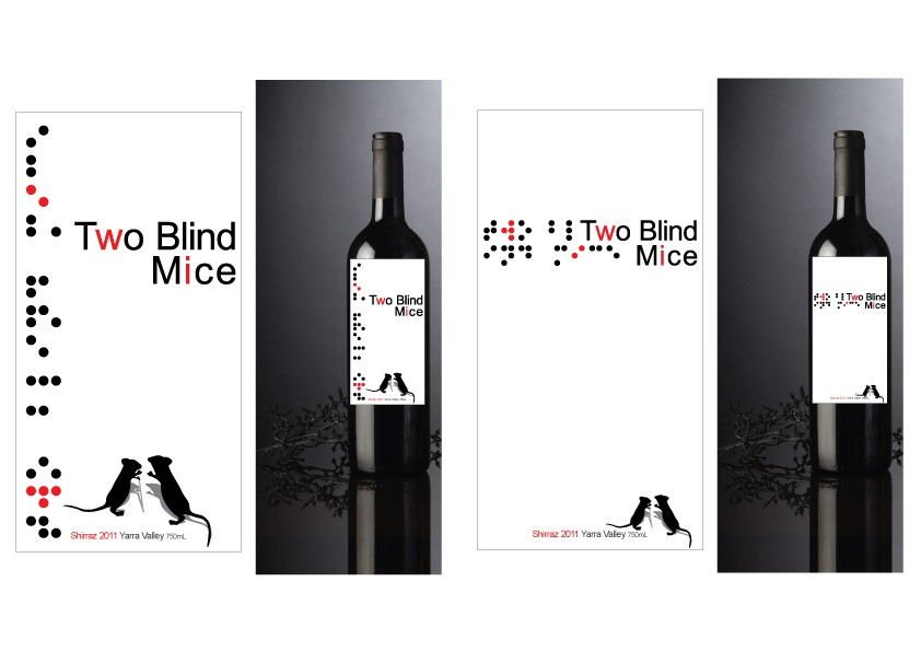 Create the next product label for Two Blind Mice Wines