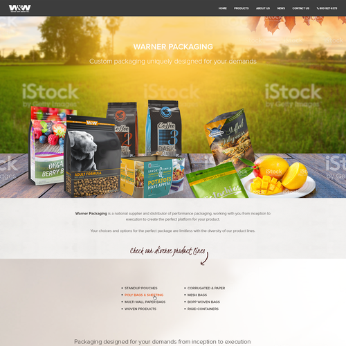 Homepage design for a packaging solution company