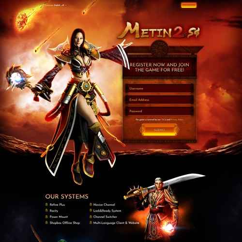 Landing Page for the MMORPG Metin 2