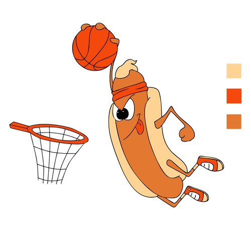 Basketball playing Hot Dog t-shirt