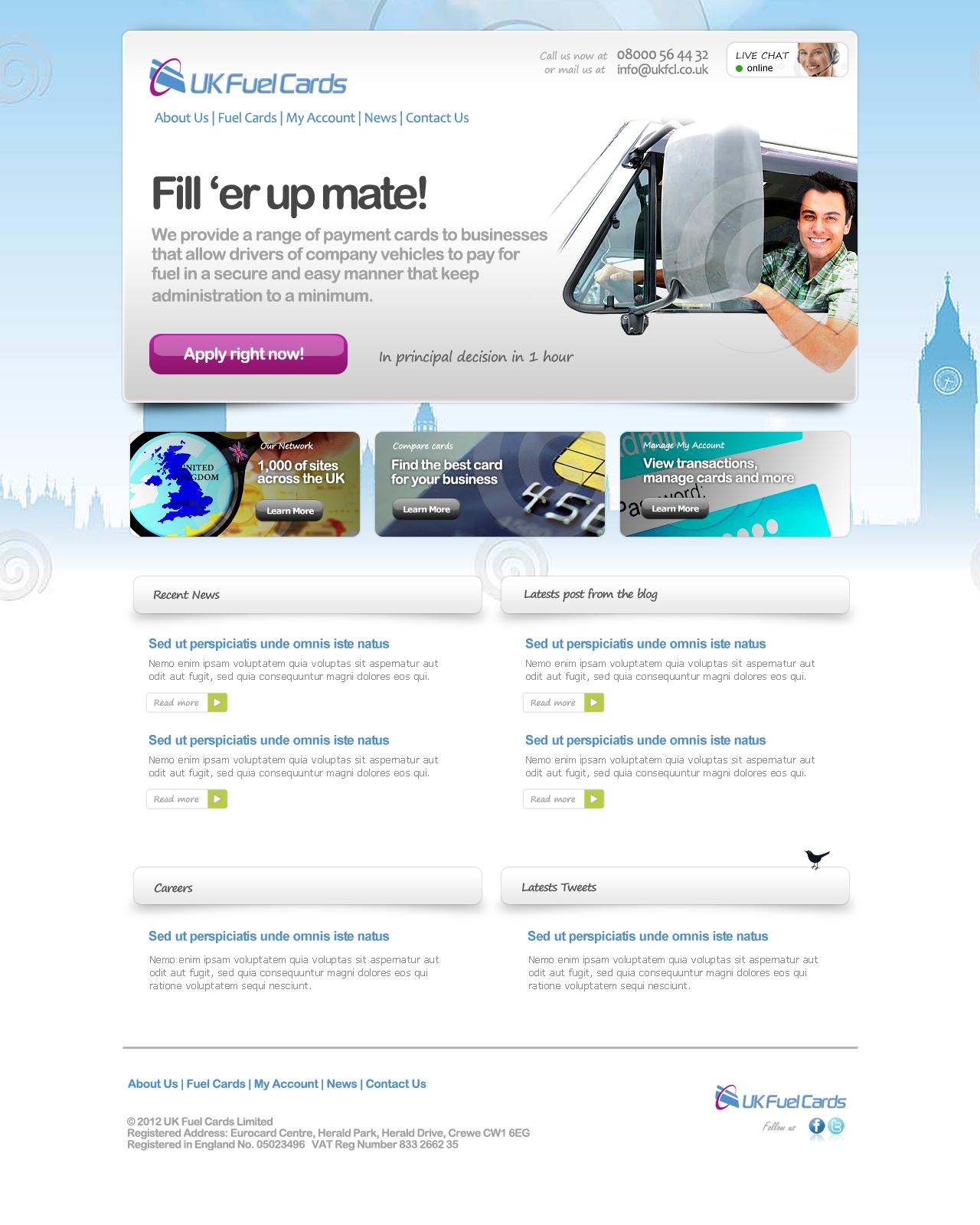 UK Fuel Cards needs a new website design
