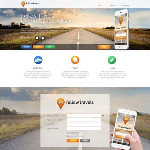 Follow Travels web and app design