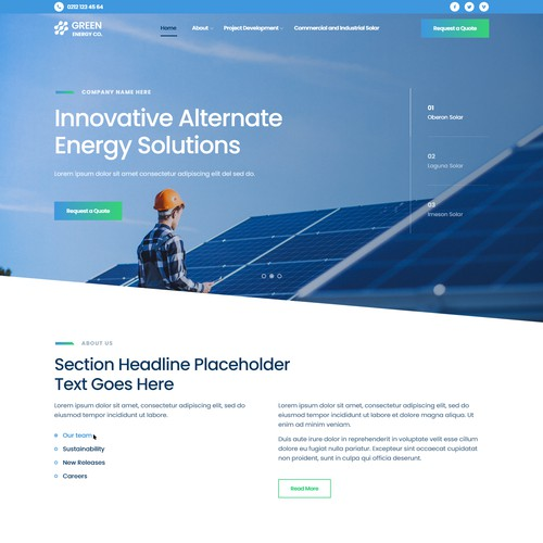 Web Design Concept for Green Energy Solutions Provider