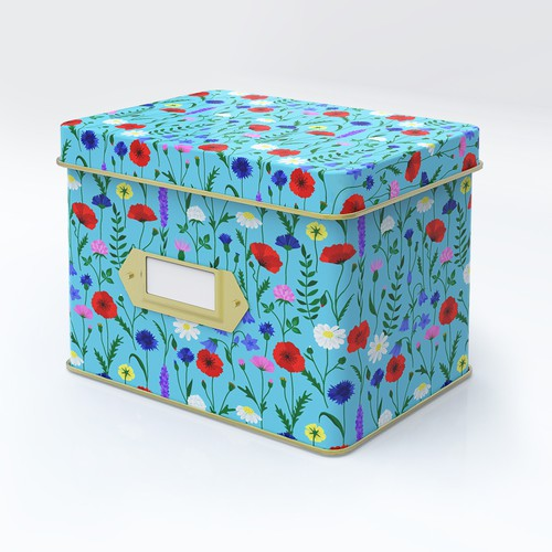 Flower pattern for tin recipe box