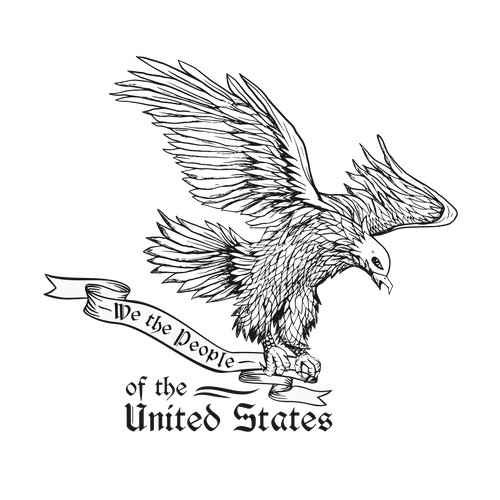 "Create a Vintage Soaring American Eagle Holding a ""We The People"" Scroll"