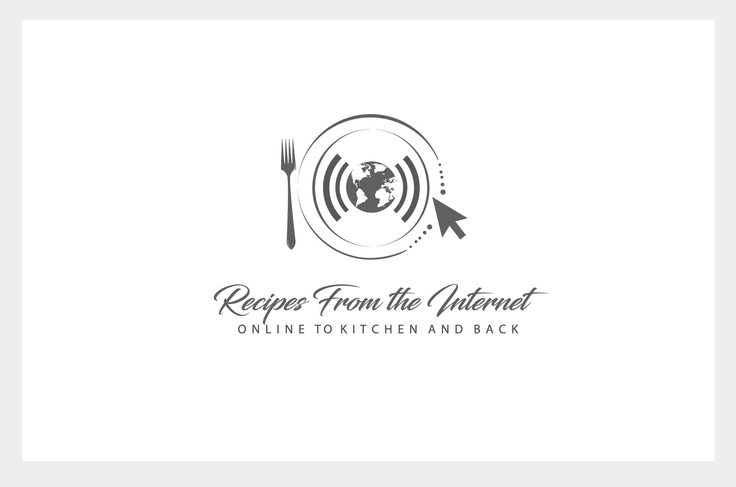 Food Blog Logo for Webpage, Recipe PDF, and kitchen utensil & appliance branding.