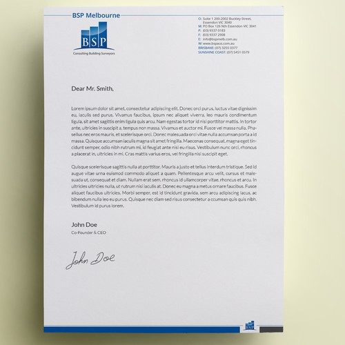 Create a corporate letterhead for a leading Building Consultancy Company