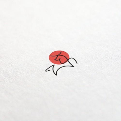 clean line art bull logo concept