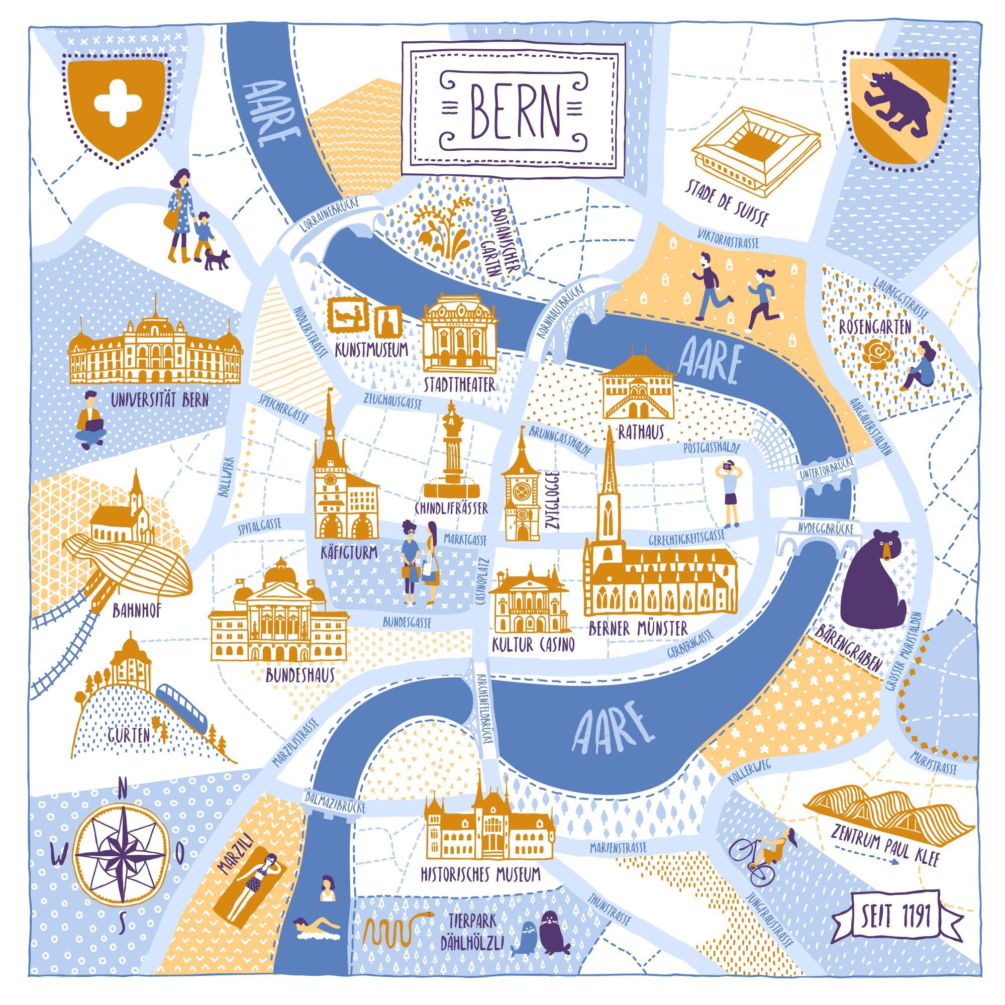 Redesign City Map of Bern / Switzerland
