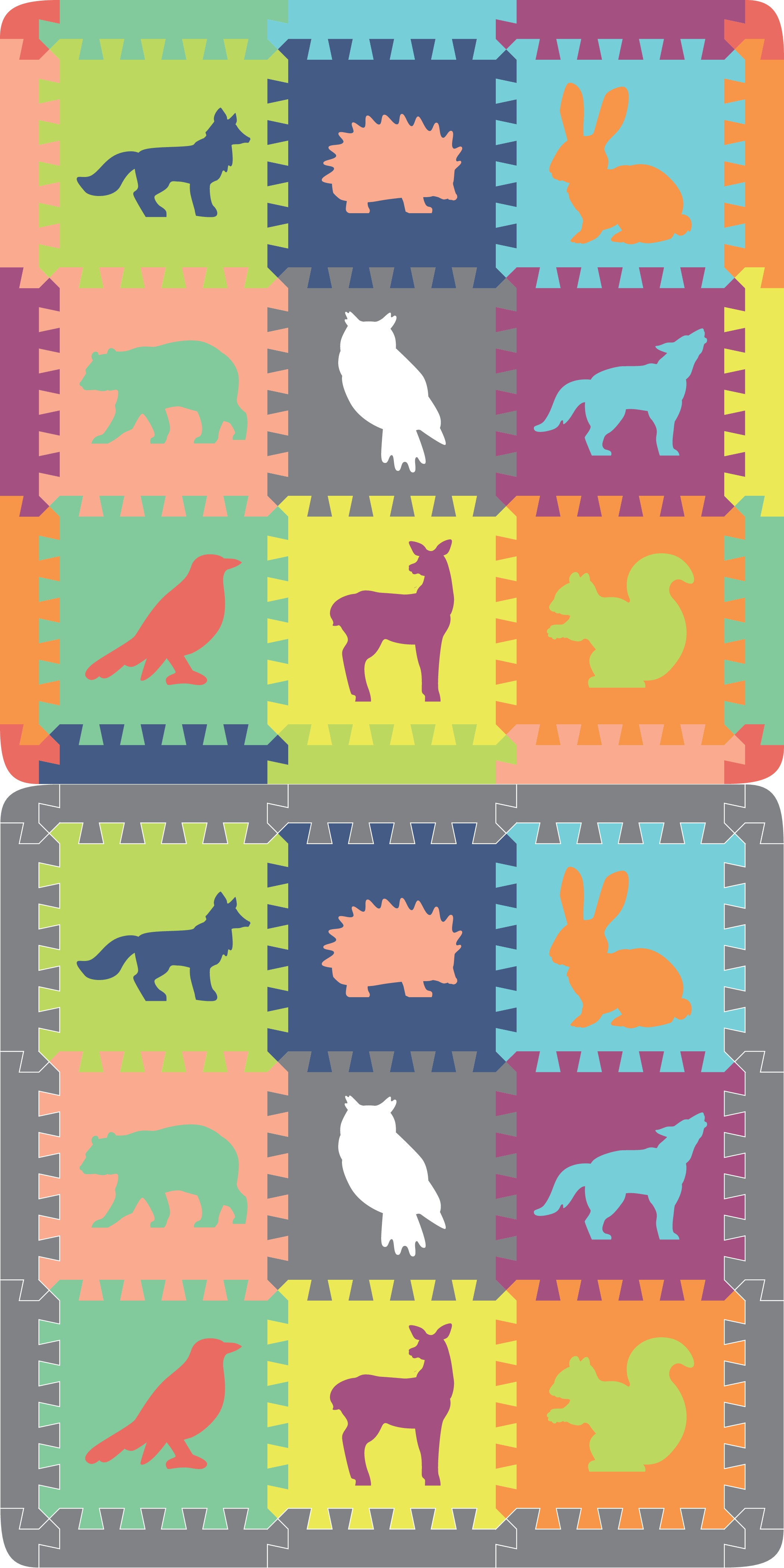 Create a playful set of animal characters for our play mat tiles.  Be creative!