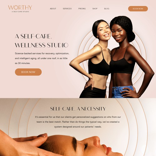 Wellness studio webpage design